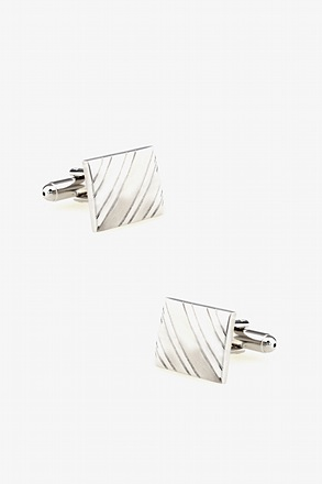 Square At an Angle Silver Cufflinks