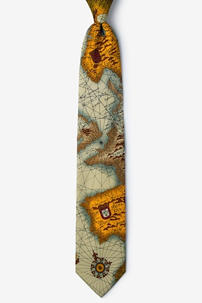 World Map Tan/taupe Tie