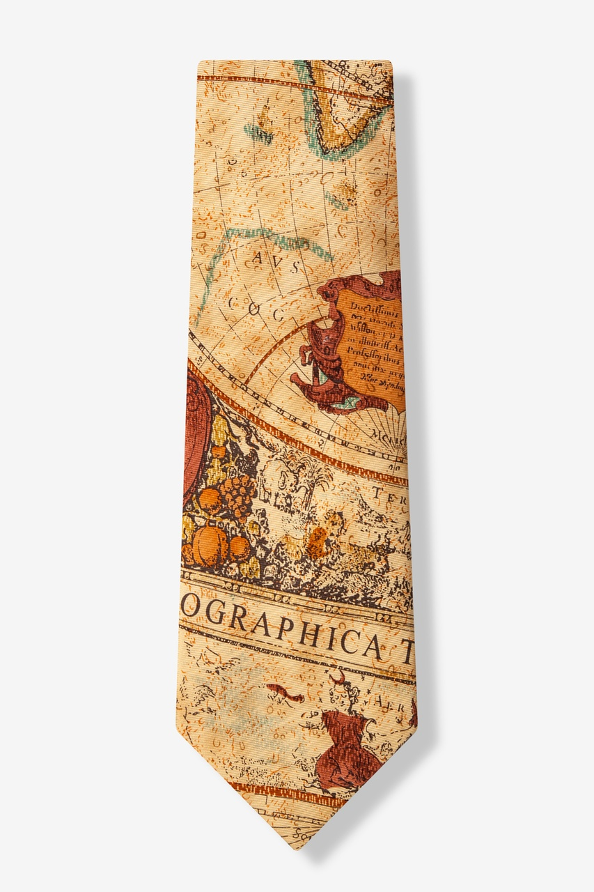 Old World Exploration Tan/taupe Tie Photo (1)