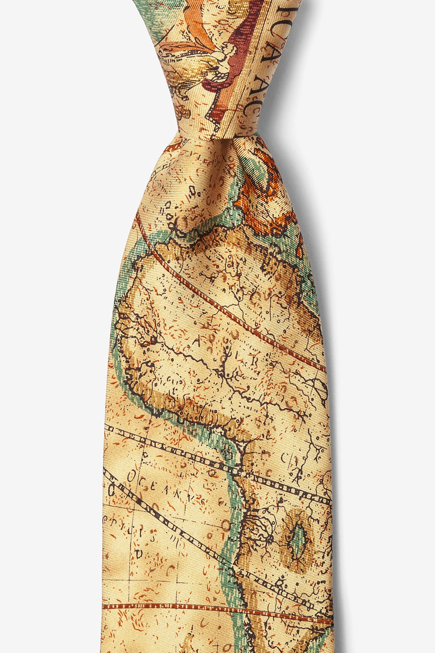 Old World Exploration Tan/taupe Tie Photo (0)