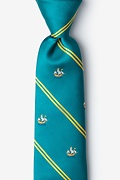 Teal Microfiber Ship Stripe Extra Long Tie