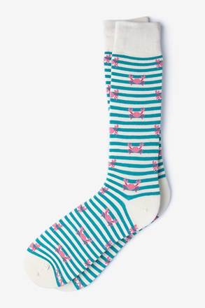 Crab Turquoise Sock