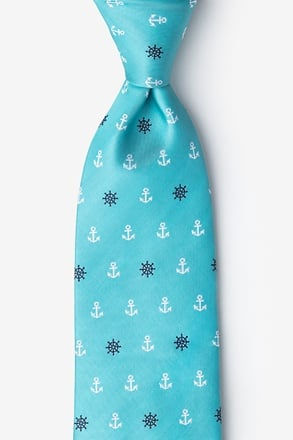Anchors & Ships Wheels Turquoise Extra Long Tie