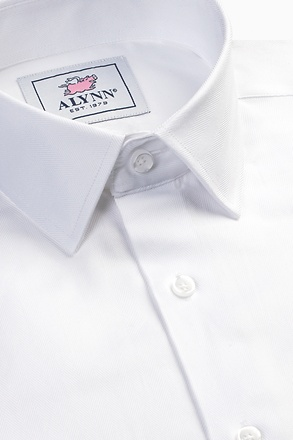 _Oliver Herringbone White Classic Fit Dress Shirt_