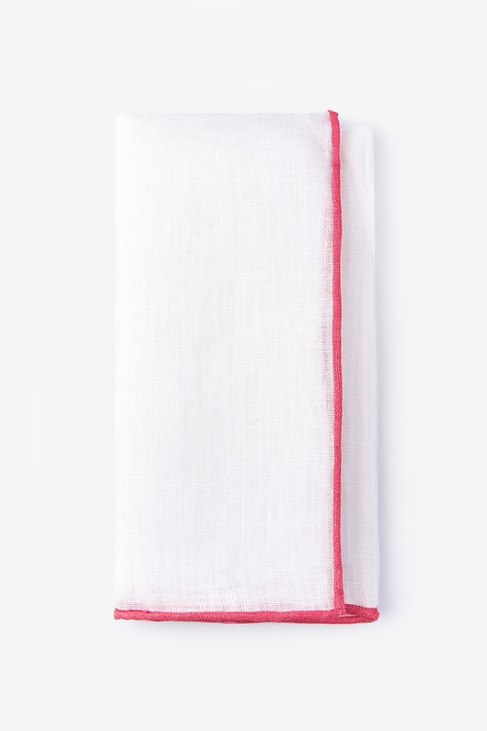Coral Edged Linen White Pocket Square Photo (0)