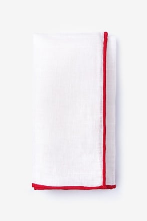Red Edged Linen White Pocket Square