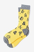 Yellow Carded Cotton Ampersand Addict Women's Sock