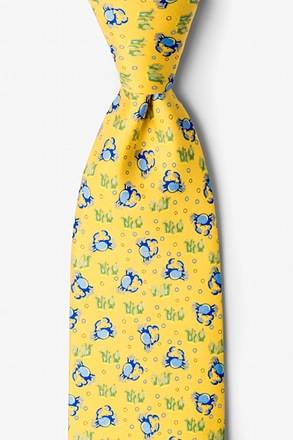 Crabs & Bubbles Yellow Tie