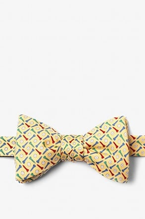 _Golf Balls & Tees Yellow Self-Tie Bow Tie_