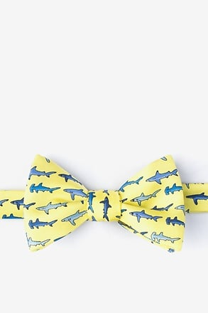 _Shark Print Yellow Self-Tie Bow Tie_