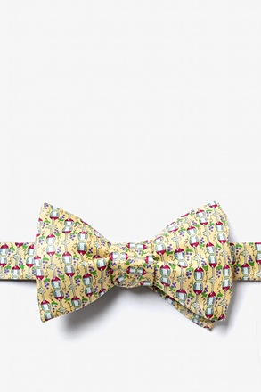 _Would ya hit a guy with glasses!? Yellow Self-Tie Bow Tie_